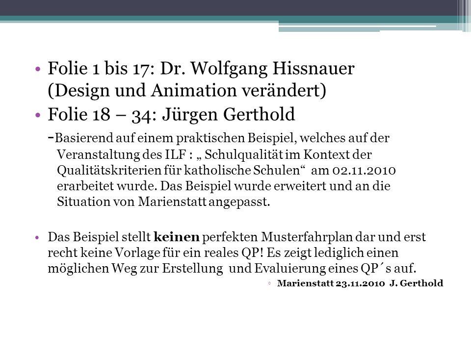 Folie 1 bis 17: Dr. Wolfgang Hissnauer (Design und Animation verändert) Folie 18 – 34: Jürgen Gerthold - Basierend auf einem praktischen Beispiel, wel