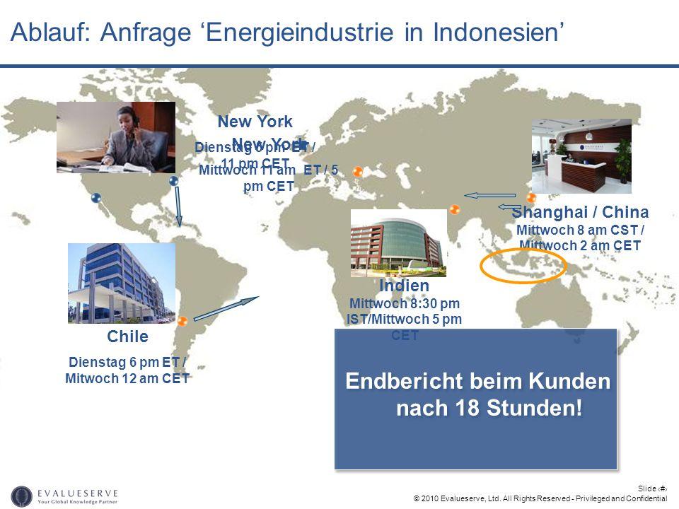 © 2010 Evalueserve, Ltd. All Rights Reserved - Privileged and Confidential Slide 16 Ablauf: Anfrage Energieindustrie in Indonesien New York Dienstag 5