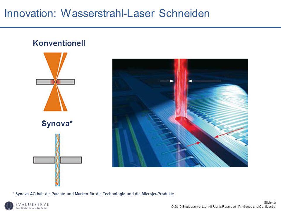 © 2010 Evalueserve, Ltd. All Rights Reserved - Privileged and Confidential Slide 17 Innovation: Wasserstrahl-Laser Schneiden Konventionell Synova* * S