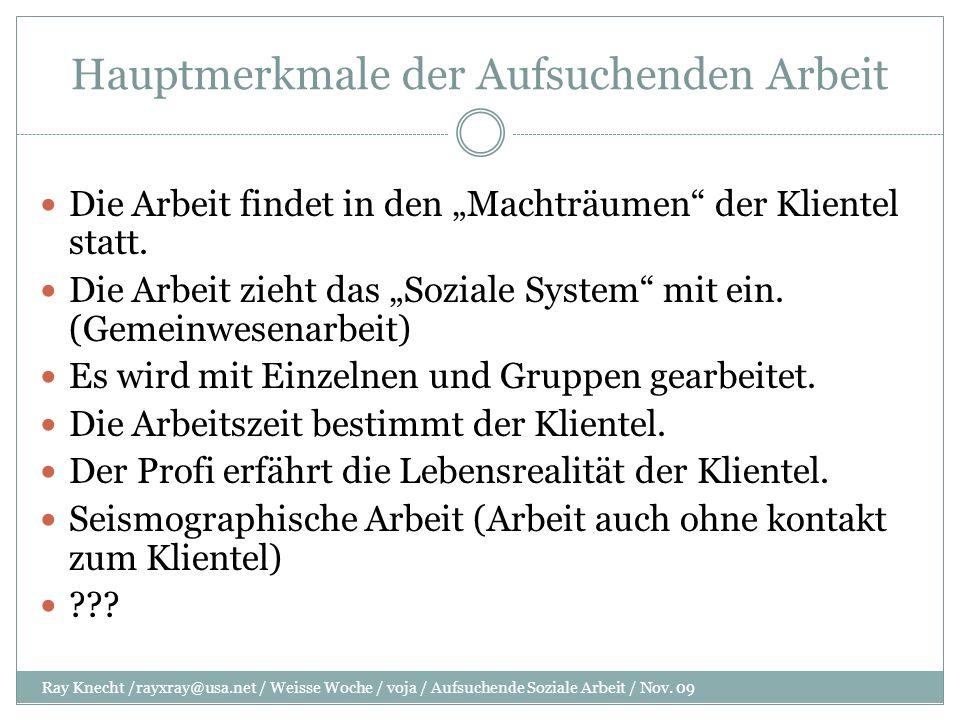 Hauptmerkmale der Aufsuchenden Arbeit Ray Knecht /rayxray@usa.net / Weisse Woche / voja / Aufsuchende Soziale Arbeit / Nov.