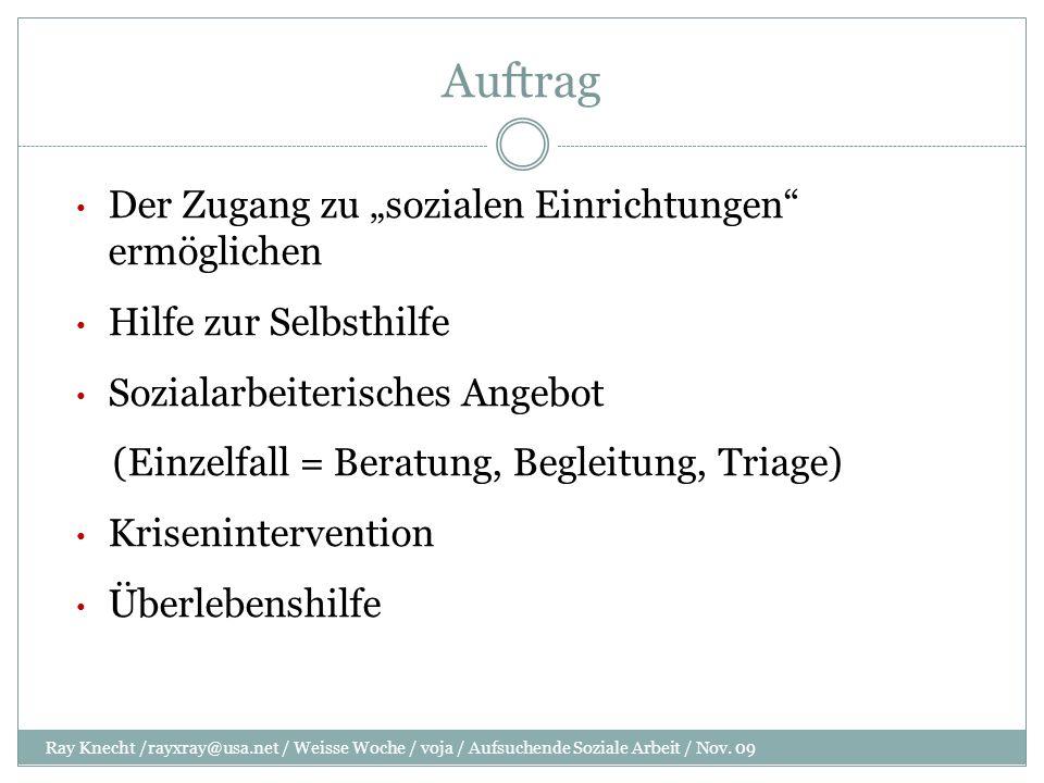 Auftrag Ray Knecht /rayxray@usa.net / Weisse Woche / voja / Aufsuchende Soziale Arbeit / Nov.