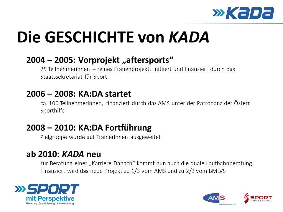 Die GESCHICHTE von KADA 2004 – 2005: Vorprojekt aftersports 25 Teilnehmerinnen – reines Frauenprojekt, initiiert und finanziert durch das Staatssekret