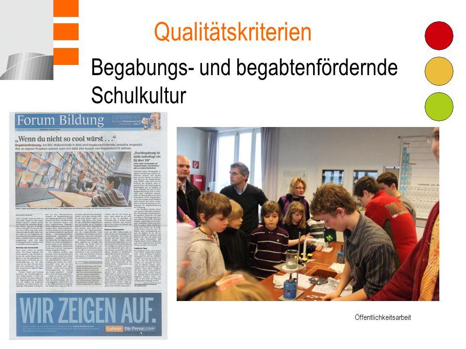 Begabungs- und begabtenfördernde Schulkultur Qualitätskriterien Öffentlichkeitsarbeit