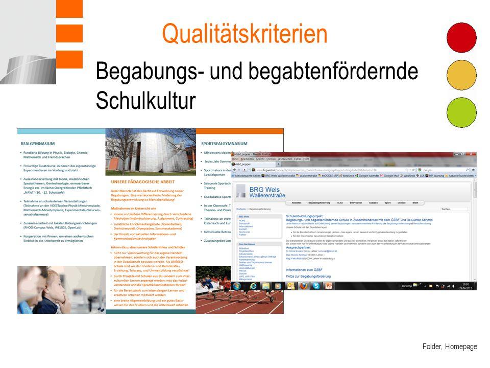 Begabungs- und begabtenfördernde Schulkultur Qualitätskriterien Folder, Homepage