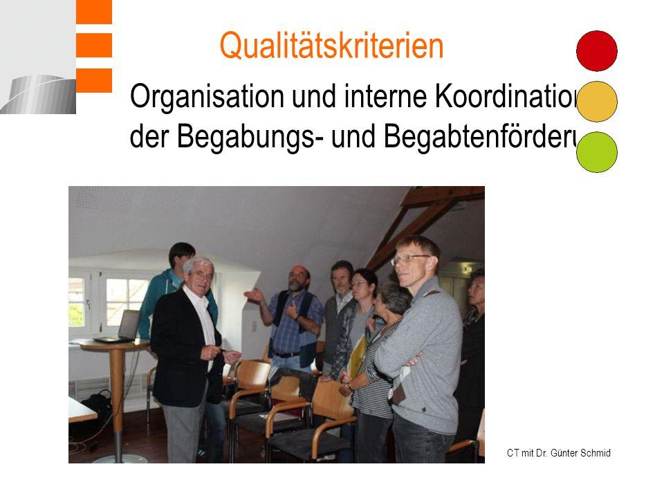 Organisation und interne Koordination der Begabungs- und Begabtenförderung Qualitätskriterien CT mit Dr.