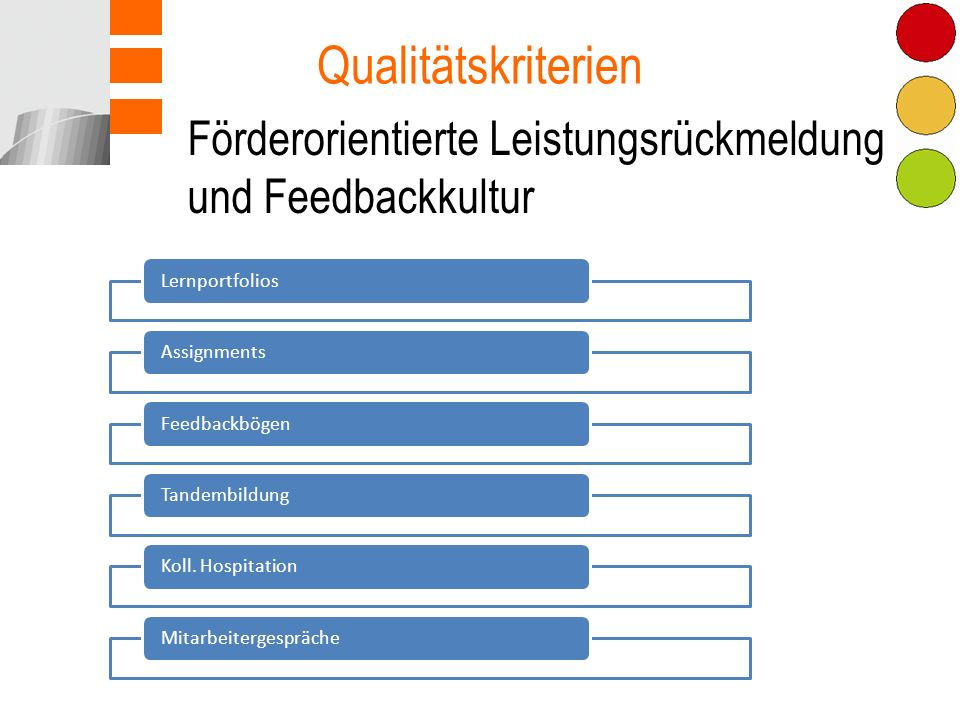 Förderorientierte Leistungsrückmeldung und Feedbackkultur Qualitätskriterien LernportfoliosAssignmentsFeedbackbögenTandembildungKoll.