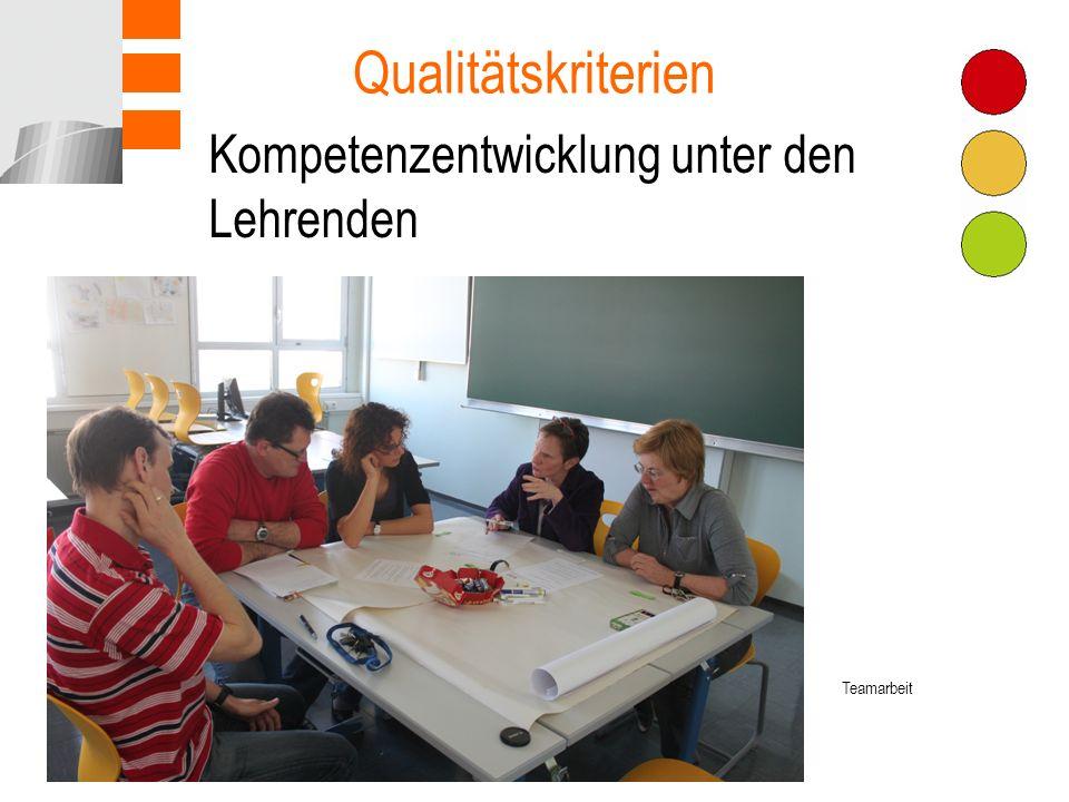 Kompetenzentwicklung unter den Lehrenden Qualitätskriterien Teamarbeit