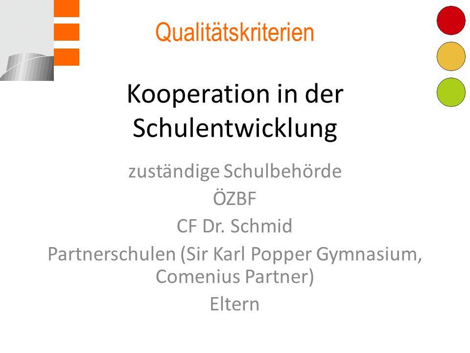 Kooperation in der Schulentwicklung zuständige Schulbehörde ÖZBF CF Dr.