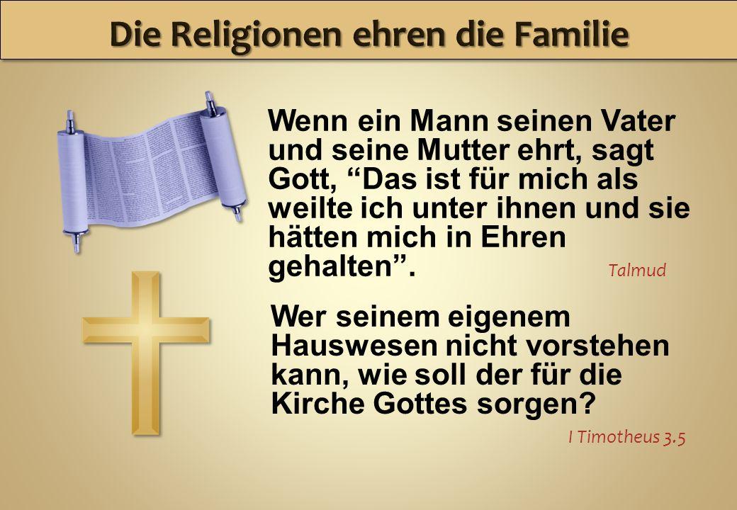 Wenn ein Mann seinen Vater und seine Mutter ehrt, sagt Gott, Das ist für mich als weilte ich unter ihnen und sie hätten mich in Ehren gehalten. Talmud