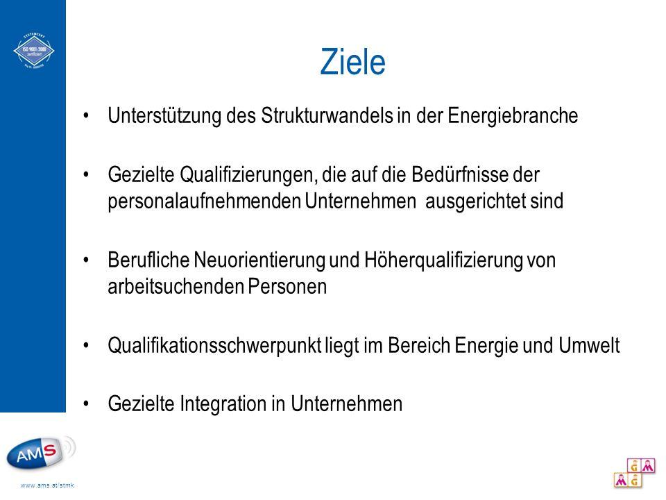 www.ams.at/stmk Ziele Unterstützung des Strukturwandels in der Energiebranche Gezielte Qualifizierungen, die auf die Bedürfnisse der personalaufnehmen