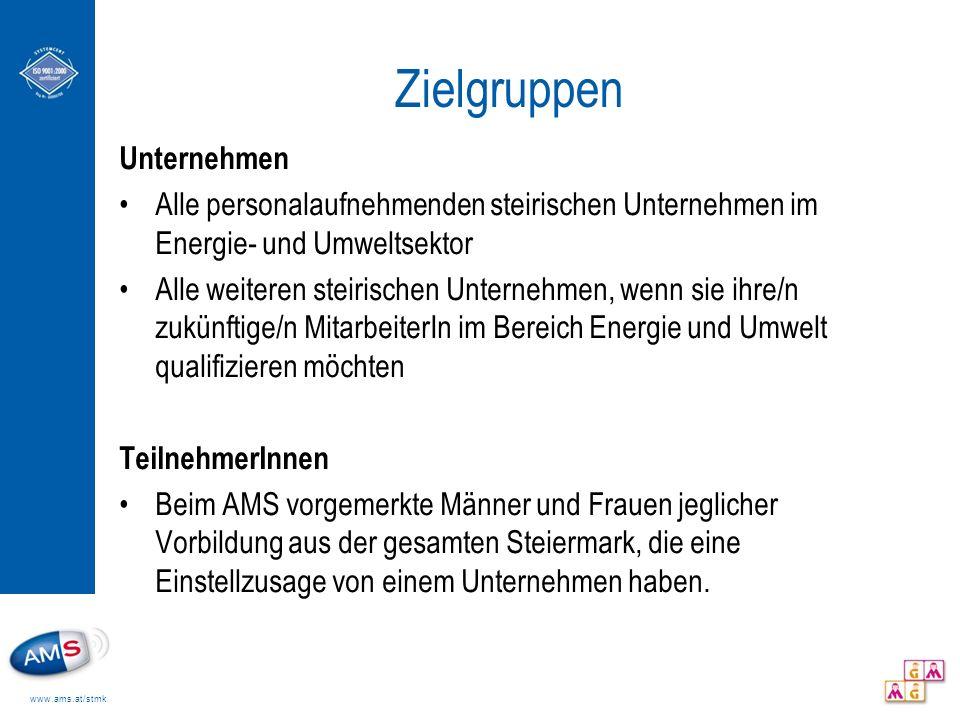 www.ams.at/stmk Zielgruppen Unternehmen Alle personalaufnehmenden steirischen Unternehmen im Energie- und Umweltsektor Alle weiteren steirischen Unter
