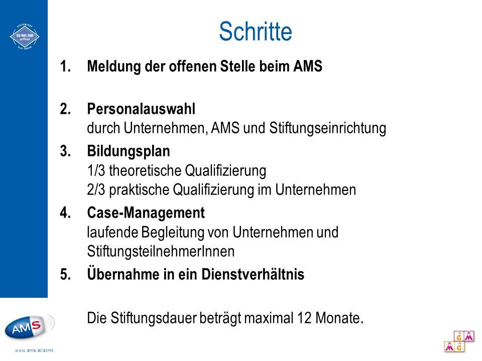 www.ams.at/stmk Schritte 1.Meldung der offenen Stelle beim AMS 2.Personalauswahl durch Unternehmen, AMS und Stiftungseinrichtung 3.Bildungsplan 1/3 th