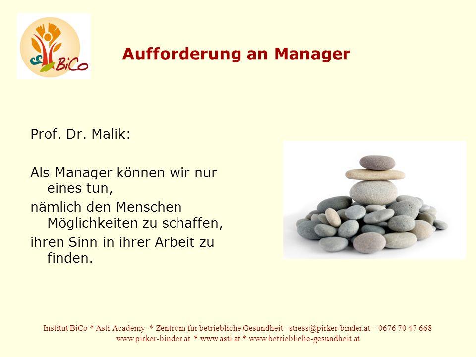 Aufforderung an Manager Prof.Dr.