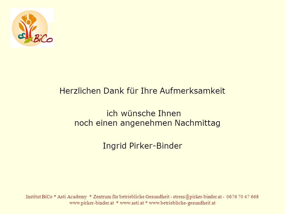 Herzlichen Dank für Ihre Aufmerksamkeit ich wünsche Ihnen noch einen angenehmen Nachmittag Ingrid Pirker-Binder