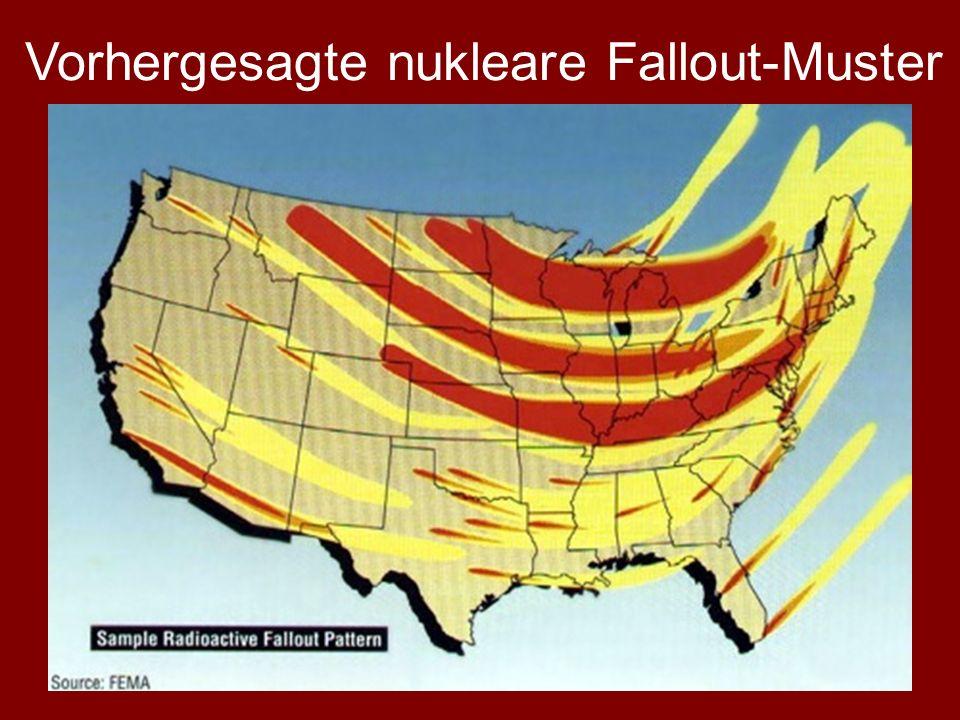 Vorhergesagte nukleare Fallout-Muster