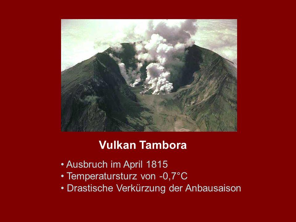 Ausbruch im April 1815 Temperatursturz von -0,7°C Drastische Verkürzung der Anbausaison Vulkan Tambora