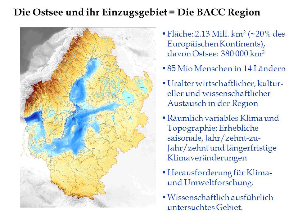 Fläche: 2.13 Mill. km 2 (~20% des Europäischen Kontinents), davon Ostsee: 380 000 km 2 85 Mio Menschen in 14 Ländern Uralter wirtschaftlicher, kultur-