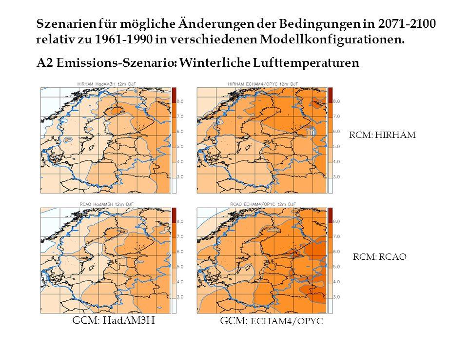Szenarien für mögliche Änderungen der Bedingungen in 2071-2100 relativ zu 1961-1990 in verschiedenen Modellkonfigurationen. A2 Emissions-Szenario: Win