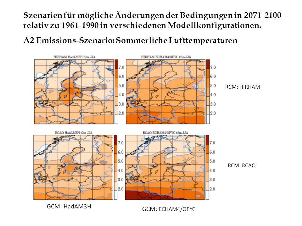 RCM: RCAO RCM: HIRHAM GCM: HadAM3H GCM: ECHAM4/OPYC Szenarien für mögliche Änderungen der Bedingungen in 2071-2100 relativ zu 1961-1990 in verschieden