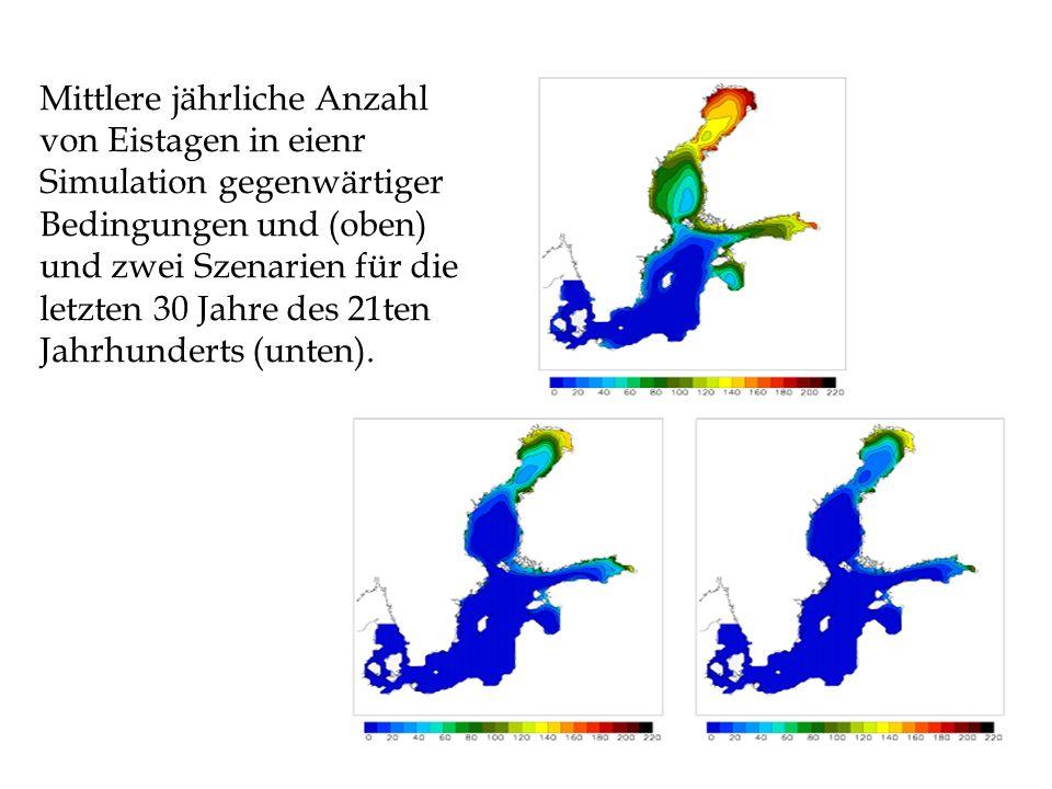Mittlere jährliche Anzahl von Eistagen in eienr Simulation gegenwärtiger Bedingungen und (oben) und zwei Szenarien für die letzten 30 Jahre des 21ten
