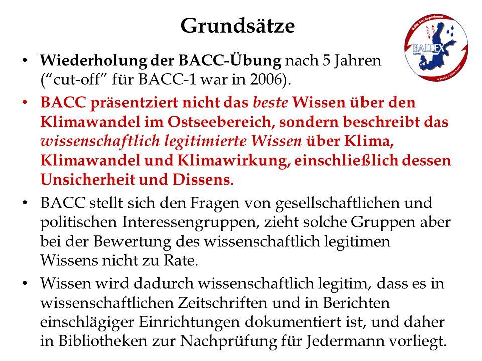 Grundsätze Wiederholung der BACC-Übung nach 5 Jahren (cut-off für BACC-1 war in 2006). BACC präsentziert nicht das beste Wissen über den Klimawandel i