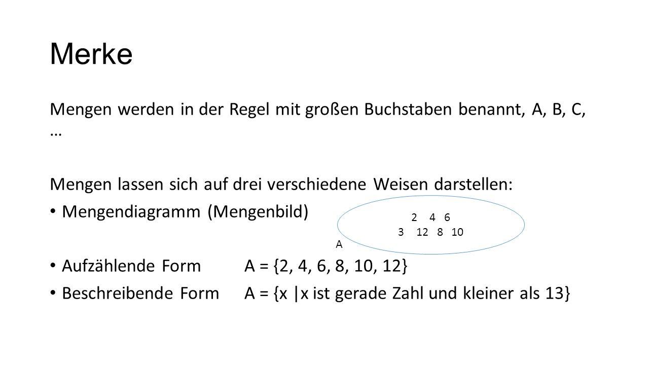 Merke Mengen werden in der Regel mit großen Buchstaben benannt, A, B, C, … Mengen lassen sich auf drei verschiedene Weisen darstellen: Mengendiagramm
