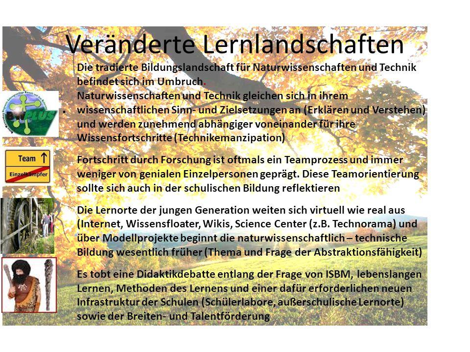 Veränderte Lernlandschaften. Die tradierte Bildungslandschaft für Naturwissenschaften und Technik befindet sich im Umbruch. Naturwissenschaften und Te