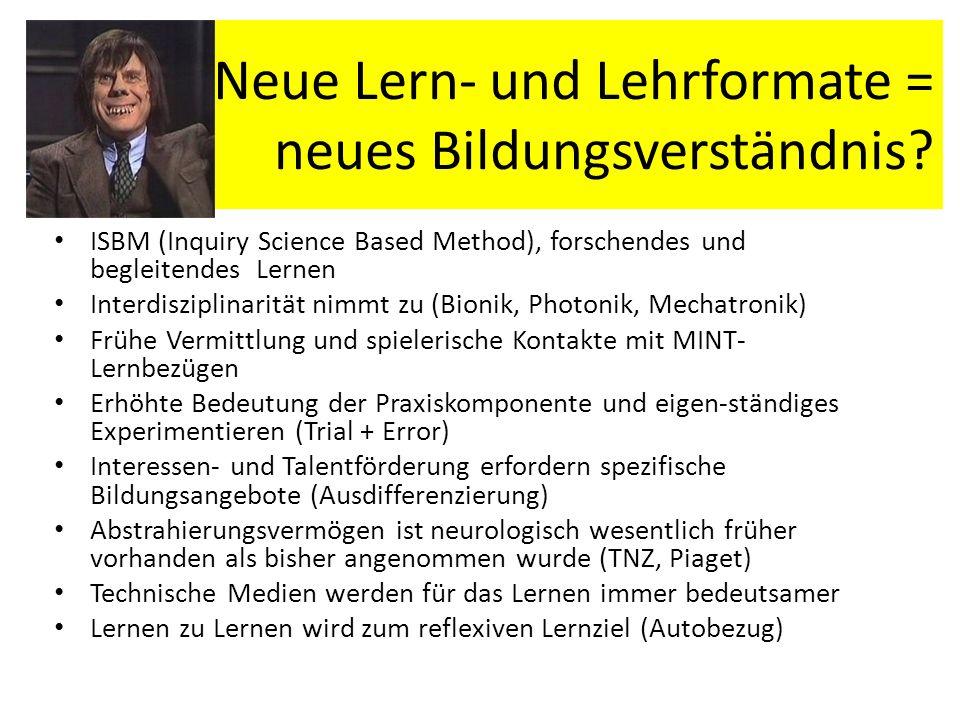 Neue Lern- und Lehrformate = neues Bildungsverständnis? ISBM (Inquiry Science Based Method), forschendes und begleitendes Lernen Interdisziplinarität