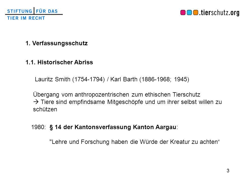 3 1. Verfassungsschutz 1.1. Historischer Abriss Lauritz Smith (1754-1794) / Karl Barth (1886-1968; 1945) 1980: § 14 der Kantonsverfassung Kanton Aarga