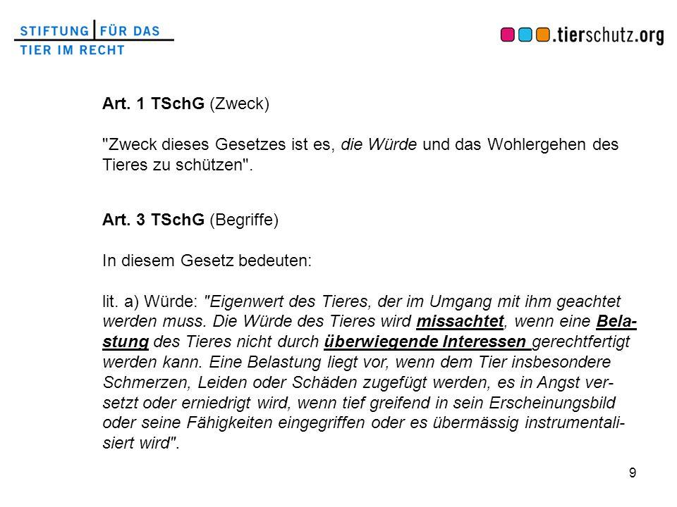 9 Art. 1 TSchG (Zweck)