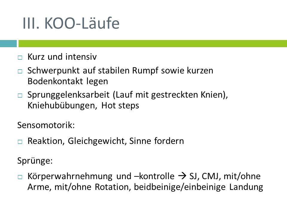 III. KOO-Läufe Kurz und intensiv Schwerpunkt auf stabilen Rumpf sowie kurzen Bodenkontakt legen Sprunggelenksarbeit (Lauf mit gestreckten Knien), Knie