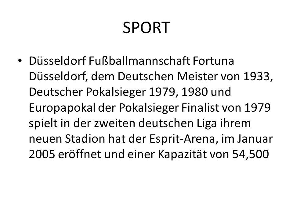 SPORT Düsseldorf Fußballmannschaft Fortuna Düsseldorf, dem Deutschen Meister von 1933, Deutscher Pokalsieger 1979, 1980 und Europapokal der Pokalsiege