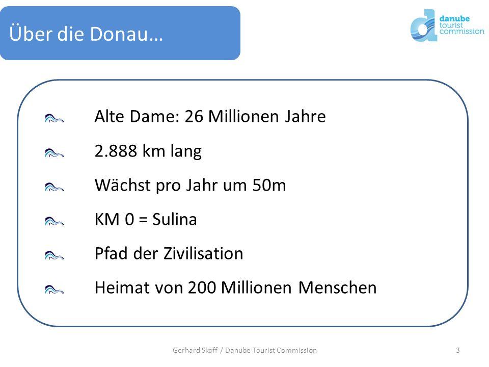 3Gerhard Skoff / Danube Tourist Commission Über die Donau… Alte Dame: 26 Millionen Jahre 2.888 km lang Wächst pro Jahr um 50m KM 0 = Sulina Pfad der Z