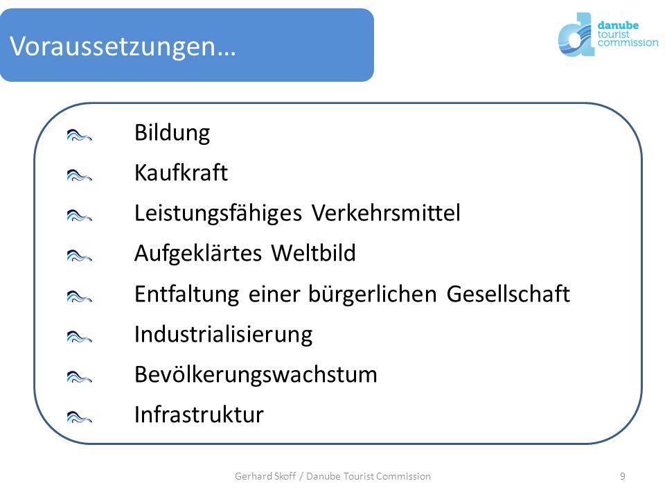 9Gerhard Skoff / Danube Tourist Commission Voraussetzungen… Bildung Kaufkraft Leistungsfähiges Verkehrsmittel Aufgeklärtes Weltbild Entfaltung einer b