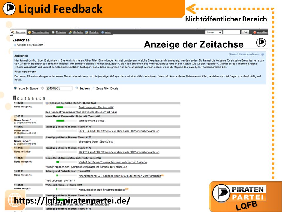 Liquid Feedback LQFB https://lqfb.piratenpartei.de/ Liquid Feedback LQFB https://lqfb.piratenpartei.de/ Nichtöffentlicher Bereich Anzeige der Zeitachse