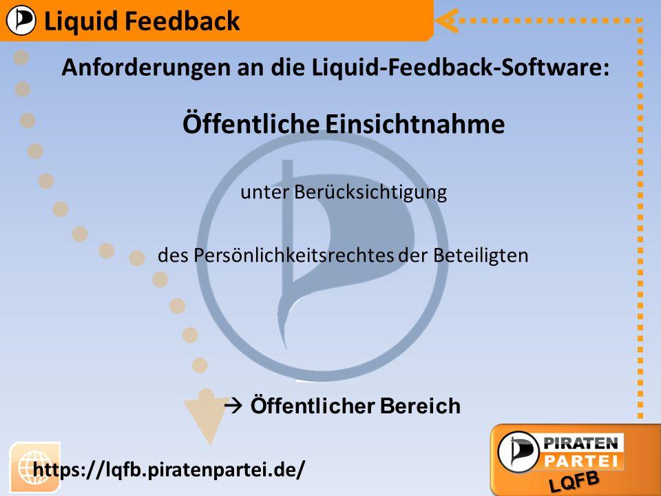 AG Bildung AG Markt Liquid Feedback LQFB https://lqfb.piratenpartei.de/ Anforderungen an die Liquid-Feedback-Software: Öffentliche Einsichtnahme unter Berücksichtigung des Persönlichkeitsrechtes der Beteiligten Öffentlicher Bereich