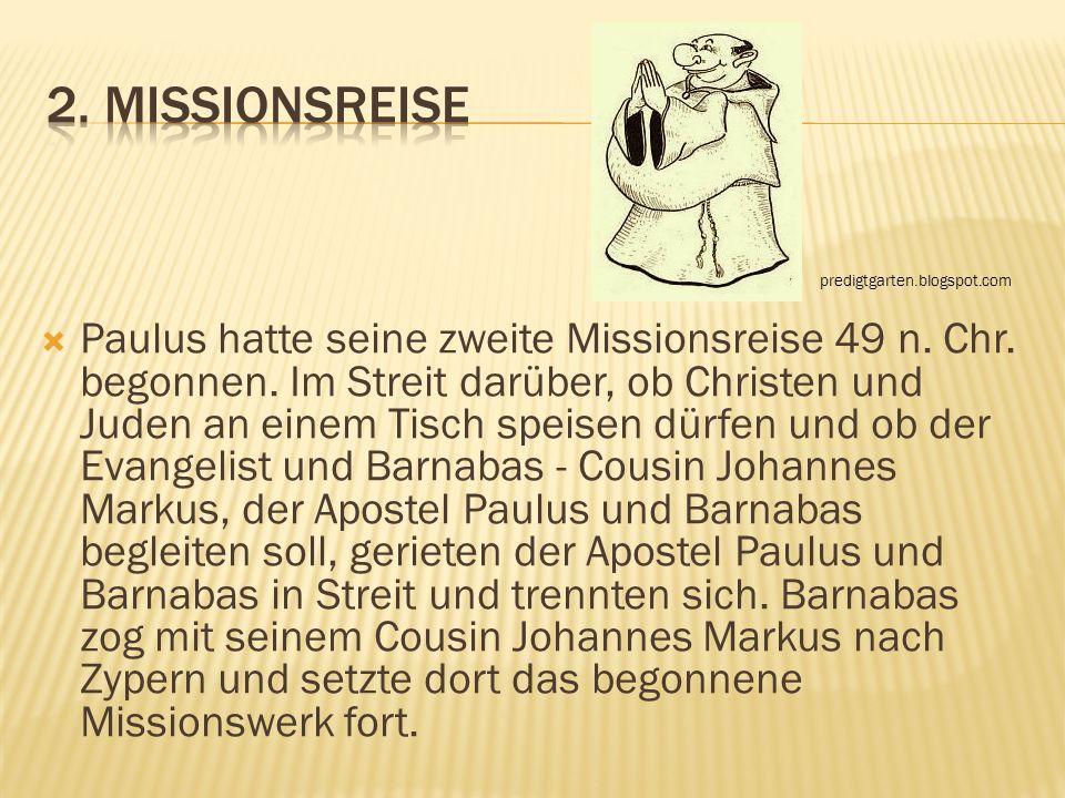 Paulus hatte seine zweite Missionsreise 49 n. Chr. begonnen. Im Streit darüber, ob Christen und Juden an einem Tisch speisen dürfen und ob der Evangel