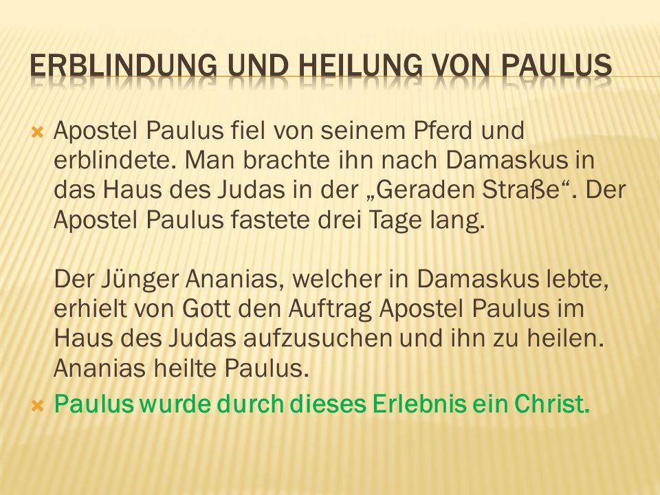 Apostel Paulus fiel von seinem Pferd und erblindete. Man brachte ihn nach Damaskus in das Haus des Judas in der Geraden Straße. Der Apostel Paulus fas