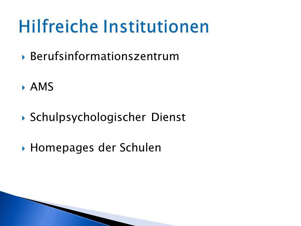 Berufsinformationszentrum AMS Schulpsychologischer Dienst Homepages der Schulen