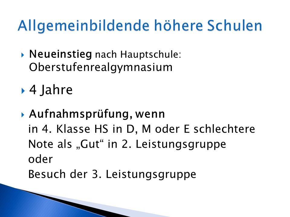 Neueinstieg nach Hauptschule: Oberstufenrealgymnasium 4 Jahre Aufnahmsprüfung, wenn in 4. Klasse HS in D, M oder E schlechtere Note als Gut in 2. Leis