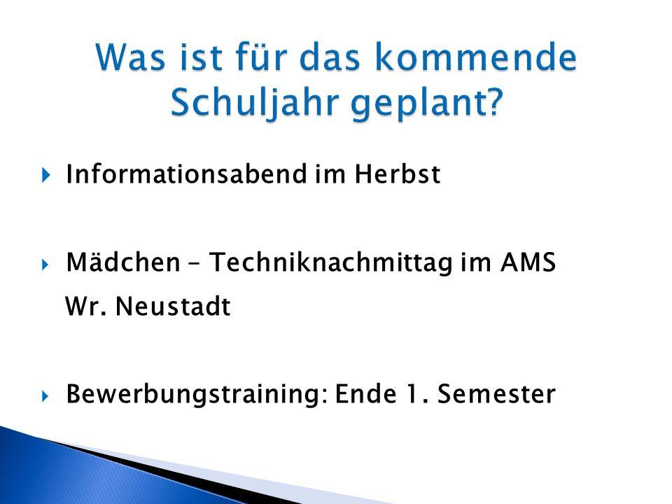 Informationsabend im Herbst Mädchen – Techniknachmittag im AMS Wr. Neustadt Bewerbungstraining: Ende 1. Semester