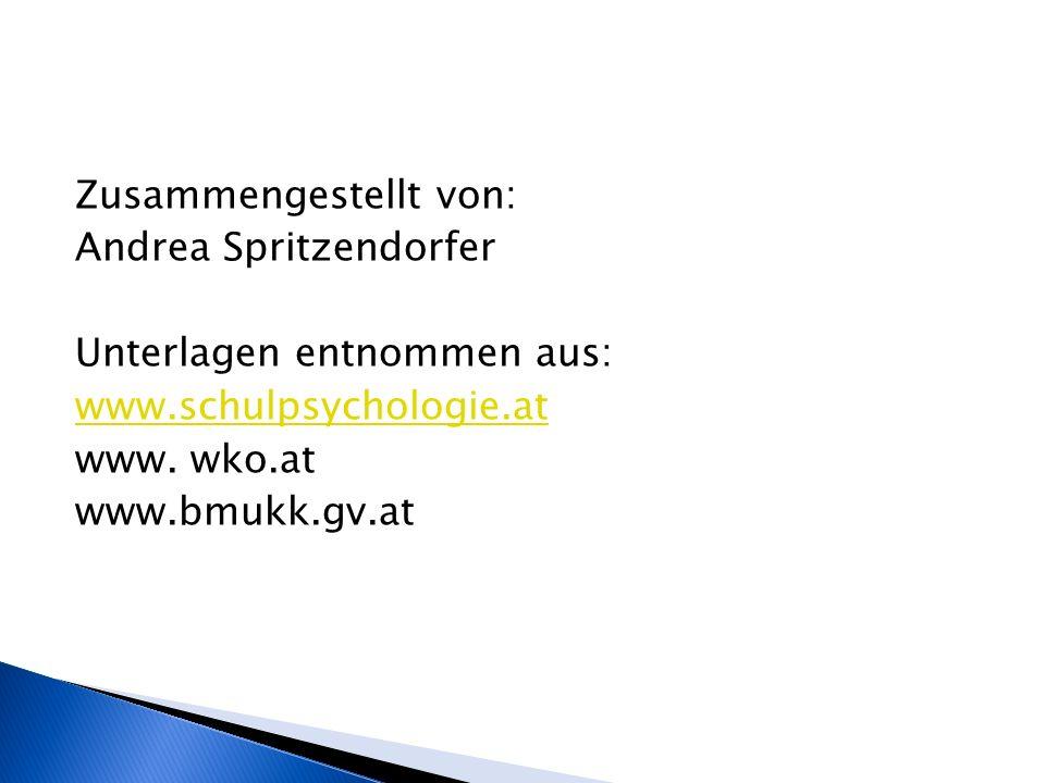 Zusammengestellt von: Andrea Spritzendorfer Unterlagen entnommen aus: www.schulpsychologie.at www. wko.at www.bmukk.gv.at
