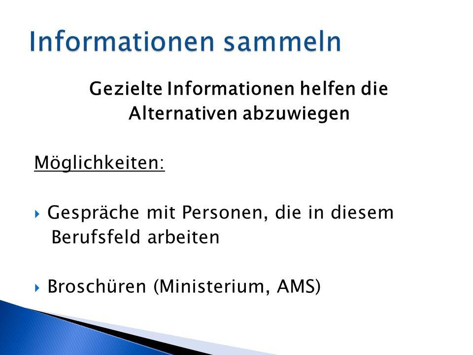 Gezielte Informationen helfen die Alternativen abzuwiegen Möglichkeiten: Gespräche mit Personen, die in diesem Berufsfeld arbeiten Broschüren (Ministerium, AMS)