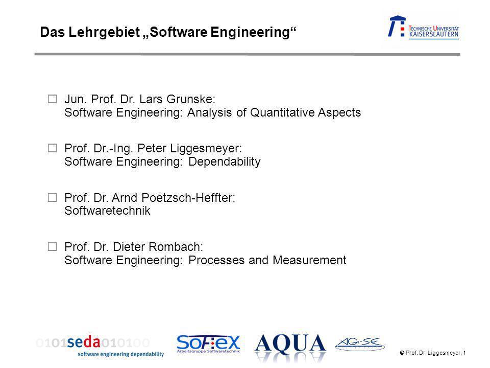 Prof. Dr. Liggesmeyer, 1 Jun. Prof. Dr. Lars Grunske: Software Engineering: Analysis of Quantitative Aspects Prof. Dr.-Ing. Peter Liggesmeyer: Softwar