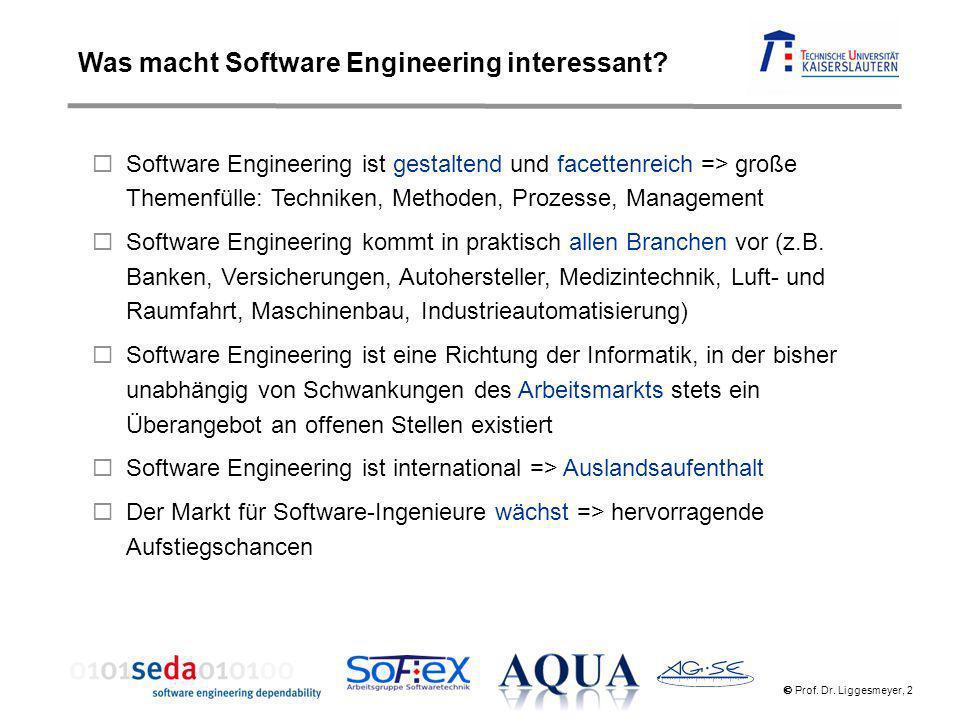 Prof. Dr. Liggesmeyer, 2 Software Engineering ist gestaltend und facettenreich => große Themenfülle: Techniken, Methoden, Prozesse, Management Softwar