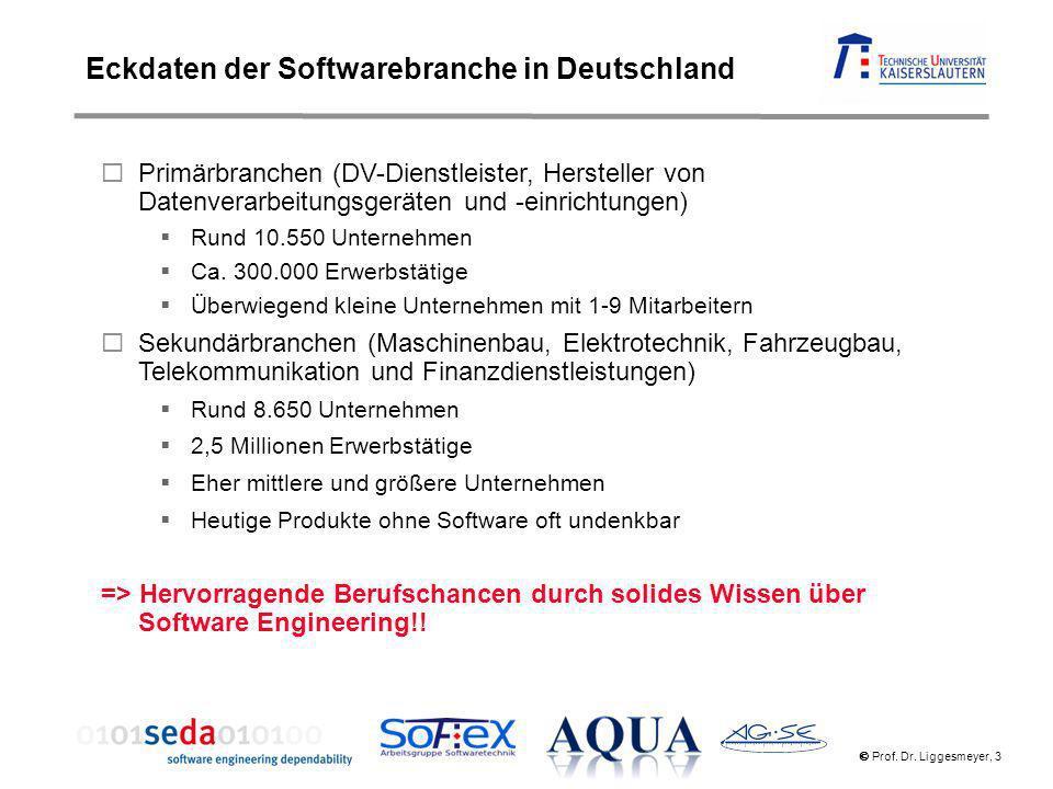 Prof. Dr. Liggesmeyer, 3 Primärbranchen (DV-Dienstleister, Hersteller von Datenverarbeitungsgeräten und -einrichtungen) Rund 10.550 Unternehmen Ca. 30