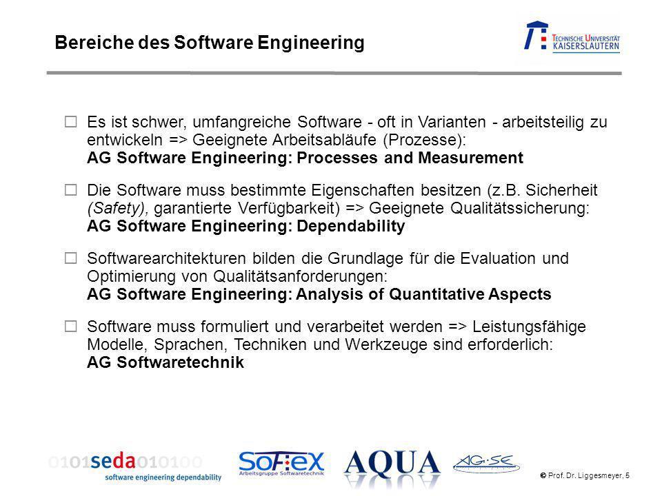 Prof. Dr. Liggesmeyer, 5 Es ist schwer, umfangreiche Software - oft in Varianten - arbeitsteilig zu entwickeln => Geeignete Arbeitsabläufe (Prozesse):