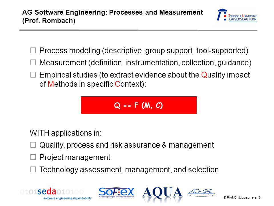 Prof. Dr. Liggesmeyer, 6 Process modeling (descriptive, group support, tool-supported) Measurement (definition, instrumentation, collection, guidance)