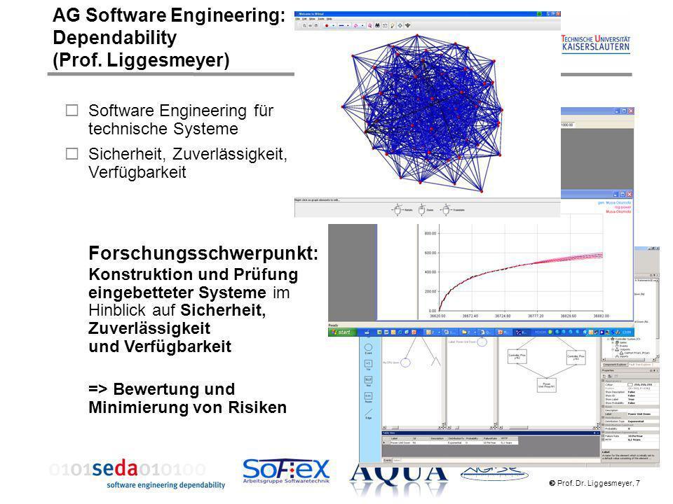 Prof. Dr. Liggesmeyer, 7 Software Engineering für technische Systeme Sicherheit, Zuverlässigkeit, Verfügbarkeit Forschungsschwerpunkt: Konstruktion un