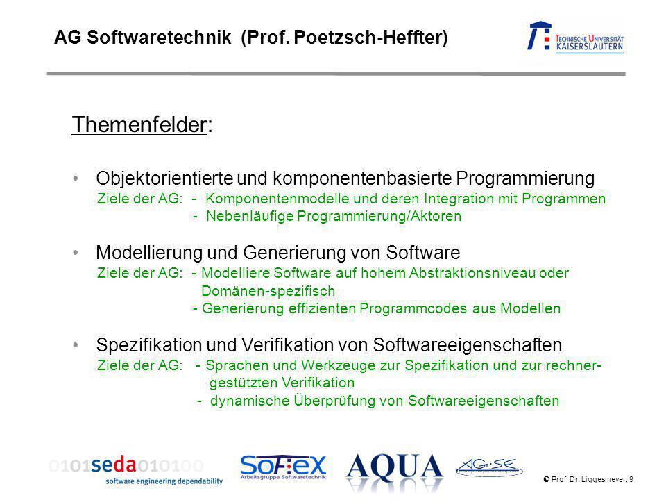 Prof. Dr. Liggesmeyer, 9 AG Softwaretechnik (Prof. Poetzsch-Heffter) Themenfelder: Objektorientierte und komponentenbasierte Programmierung Ziele der
